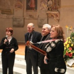 Michele Tortorici, Piero Leonardi e Valeria Arpino con Manuela Vico, presidente dell'Alliance française di Cuneo